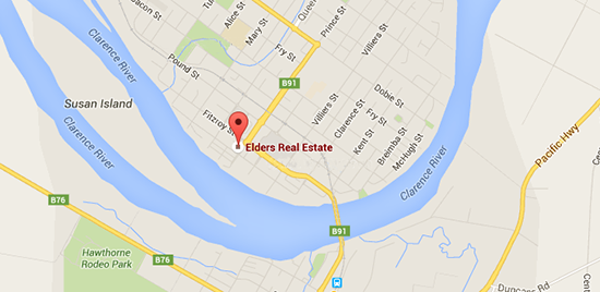 visual link to the google map location of Elders Real Estate Grafton, NSW, in the clarence valley