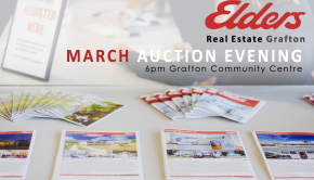 Banner for the Elders Real Estate Grafton March Auction Evening