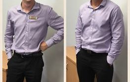 Who wore it better? Agents Dave Dart and Sam Danvers of Elders Real Estate Grafton wearing accidental matching outfits