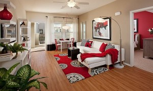 Bedroom-decorating-with-red-rugs-and-red-pillows